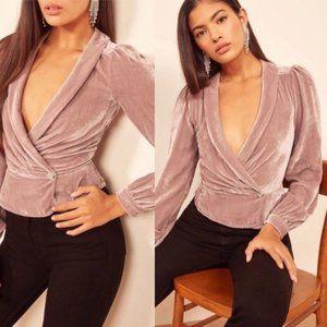 Reformation Anastasia Velvet Top in Blush Pink M